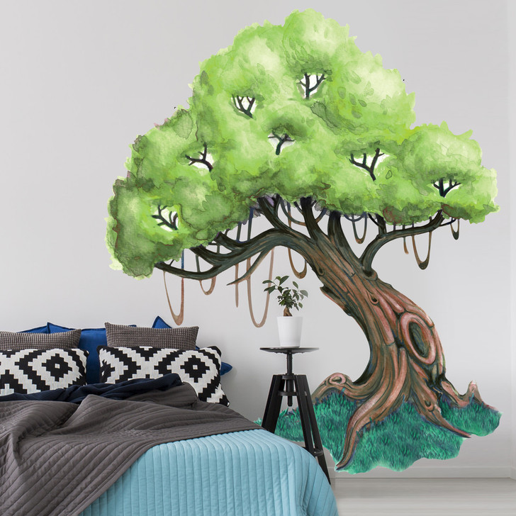Knotty Oak Tree Watercolor Wall Decal Mural Kit