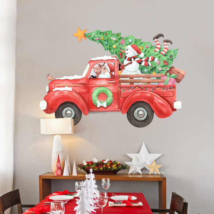 Santa's Big Red Truck Wall Decal Set Sticker