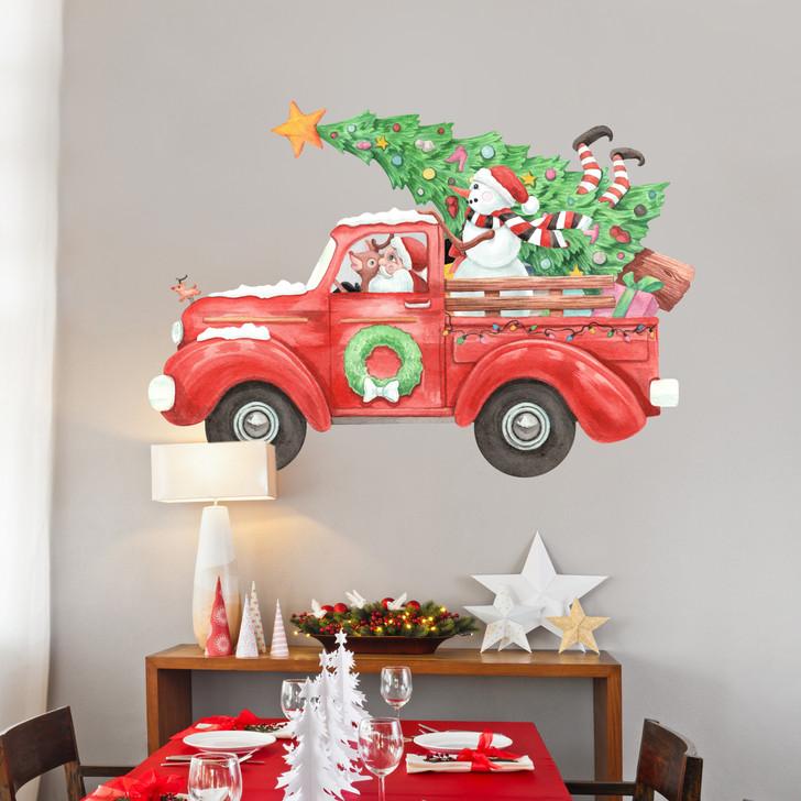 Santa's Big Red Truck Wall Decal Set Sticker