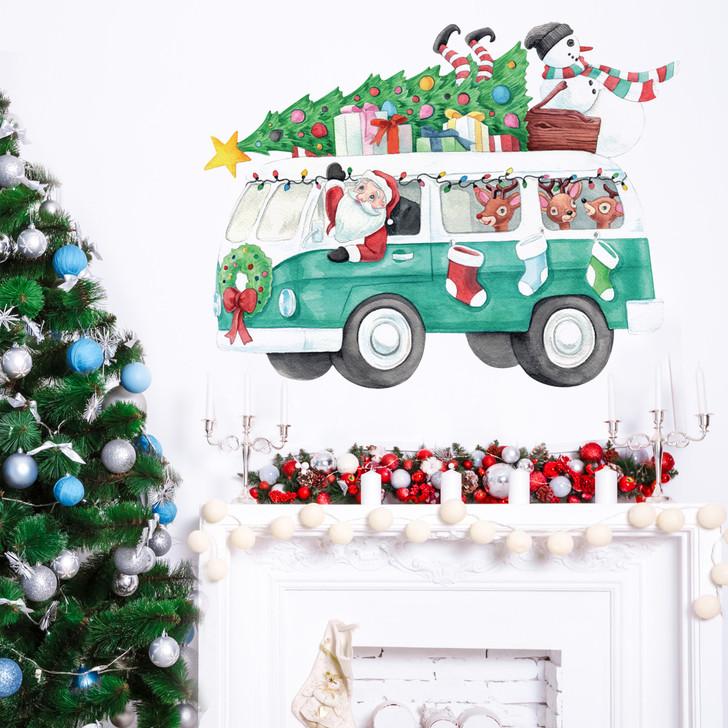 Santa's Bus Wall Decal Sticker