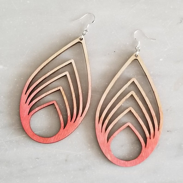 Tear Drop Geometric Wooden Laser Cut Statement Earring by Bright on Birch