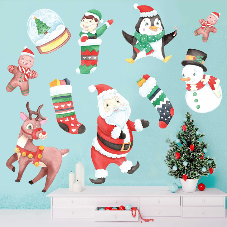 Christmas Holiday Watercolor Wall Decal Sticker Kit