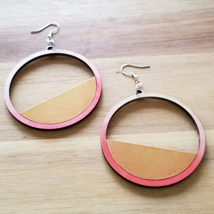 Split Circle  Geometric Wooden Laser Cut Earring by Bright on Birch
