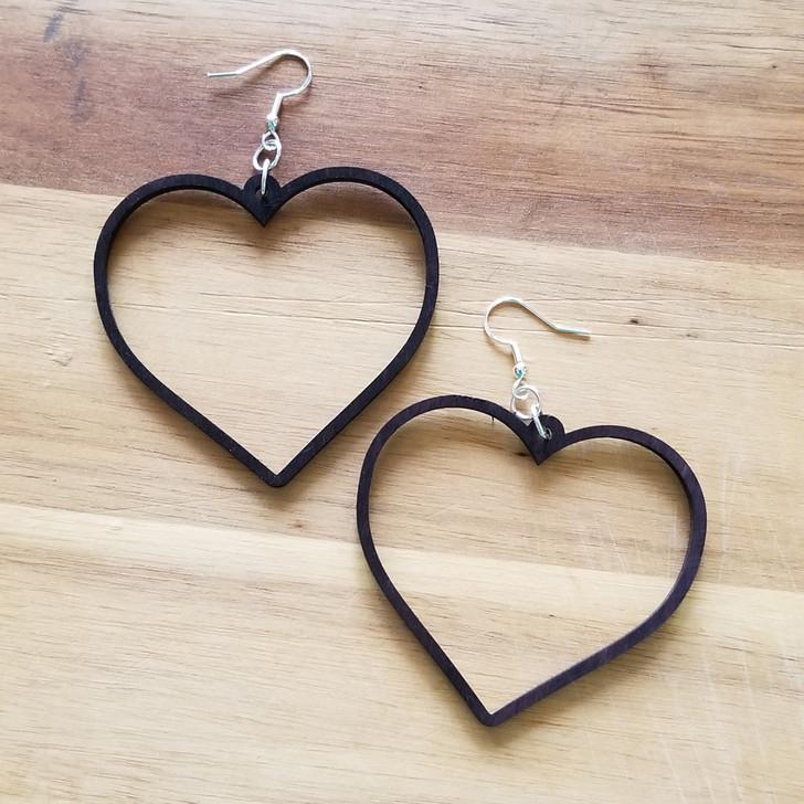 Heart Hoop Wooden Laser Cut Earring by Bright on Birch