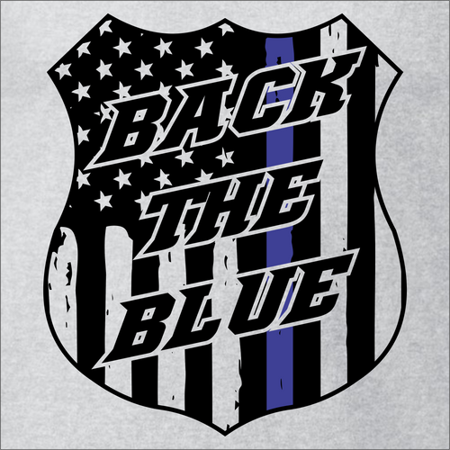 Back The Blue Custom Badge T-Shirt