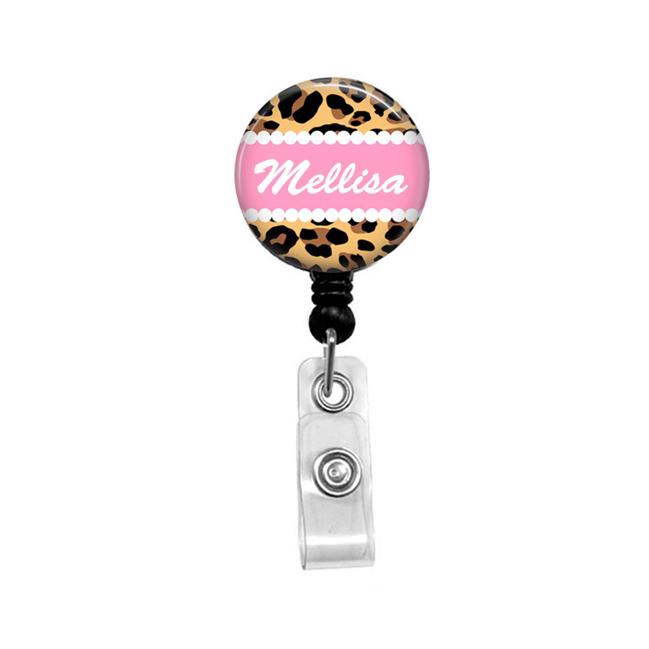 Personalized Retractable ID Holder Choice of Clip Pink and Green Monogram Badge Reel