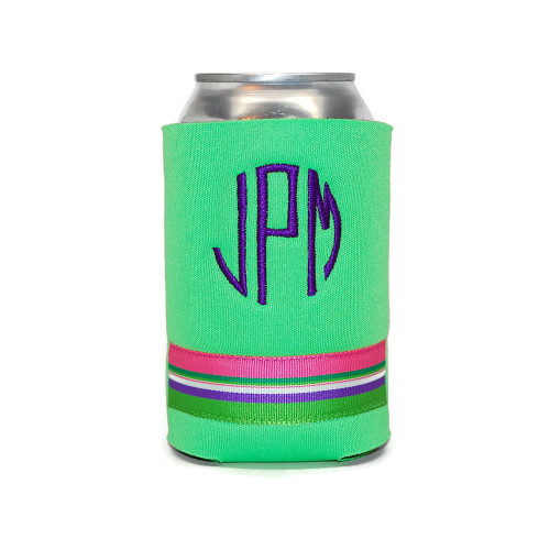 Pink Green Purple Stripes Personalized Can Cover