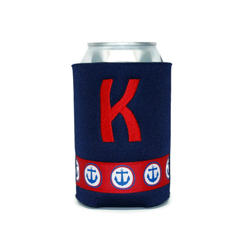 Personalized Can Koozie Navy Blue with Red Anchor Ribbon