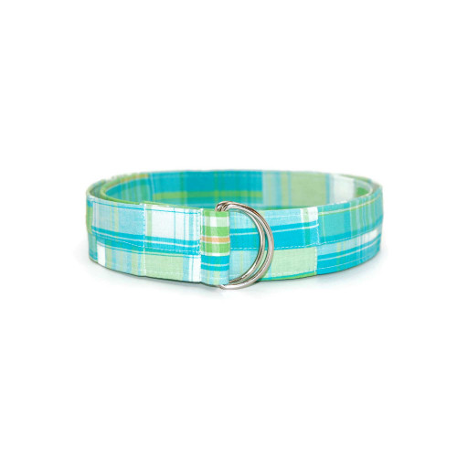 Madras Lime and Blue Fabric Belt