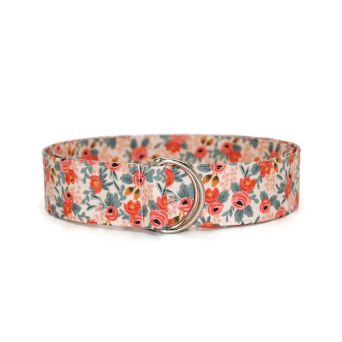 Floral With Mint Coral Fabric Belt