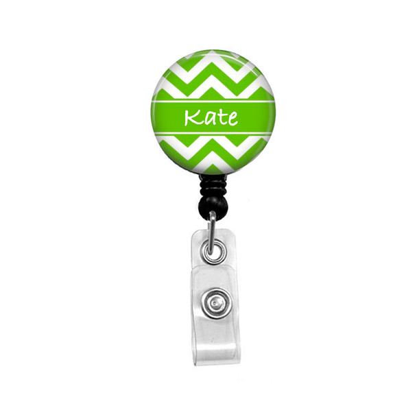 Personalized Name Lime Green Chevron Mylar  Retractable ID Badge Reel