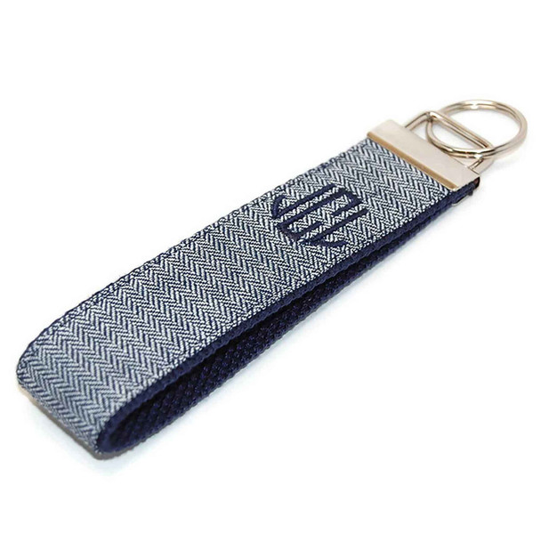 Navy Herringbone Personalized Key Fob