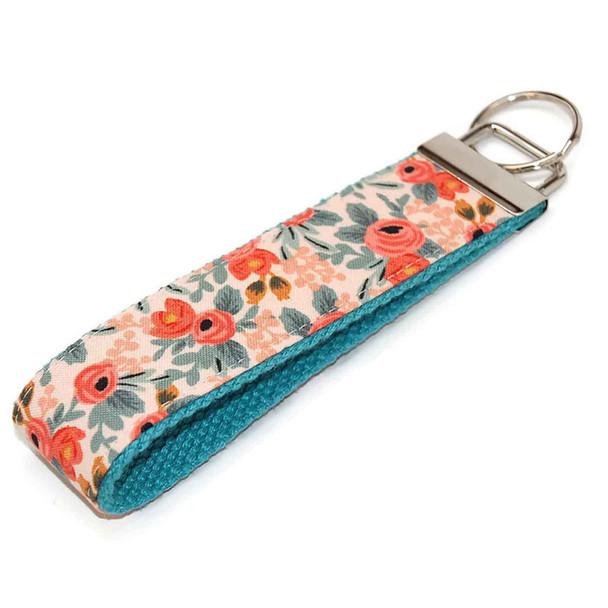 Floral Coral Mint Wristlet Keychain