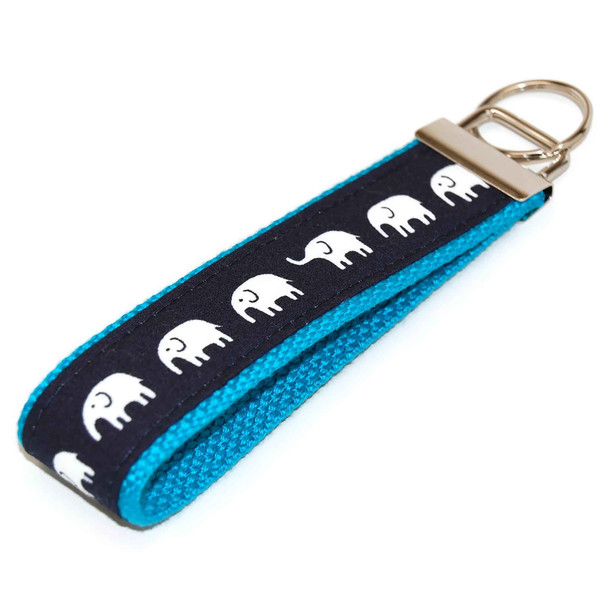 Elephant on Navy Keychain