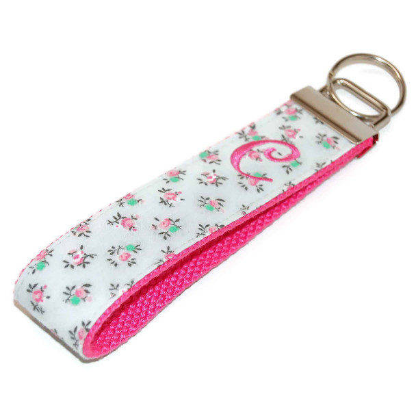 Floral Gray Keychain Personalized  with Letter