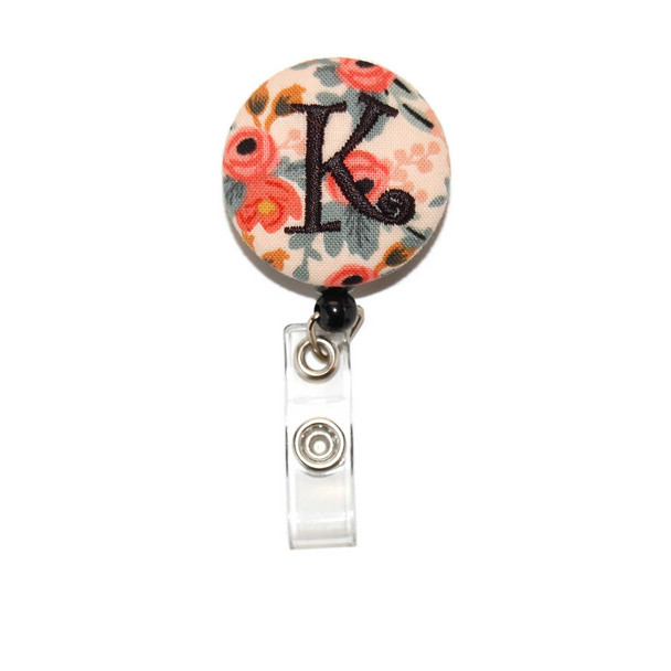 Floral Coral Mint with Letter ID Badge Reel