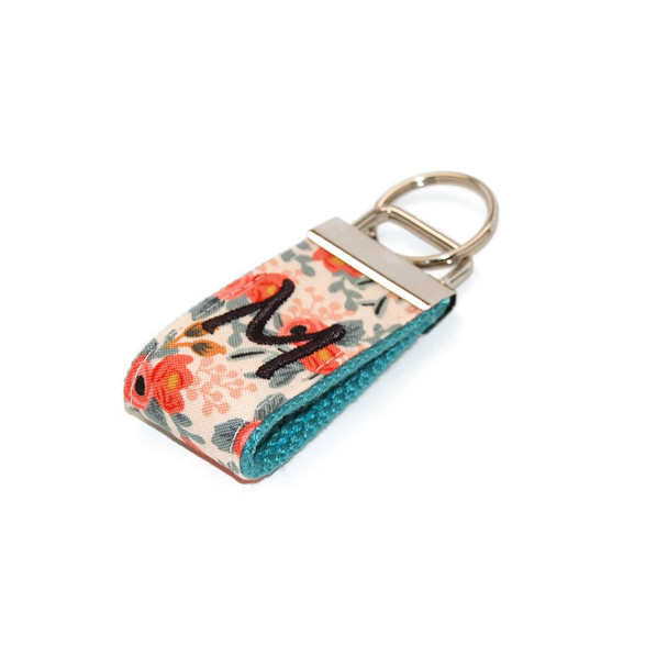 Floral Coral Mini Keychain Personalized with Letter