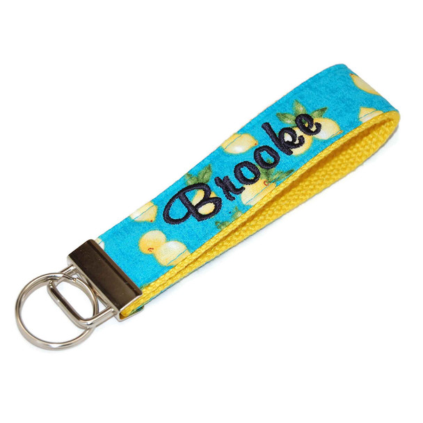 Lemons on Turquoise Keychain Personalized with Name