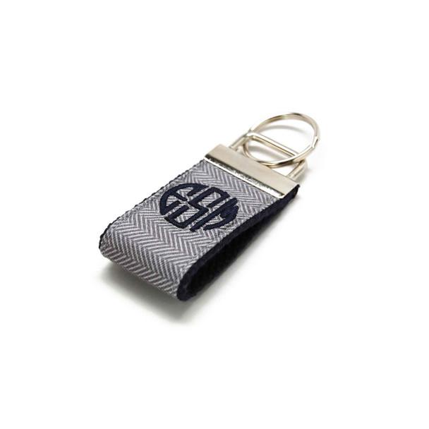 Gray Herringbone Mini Keychain Personalized with Monogram