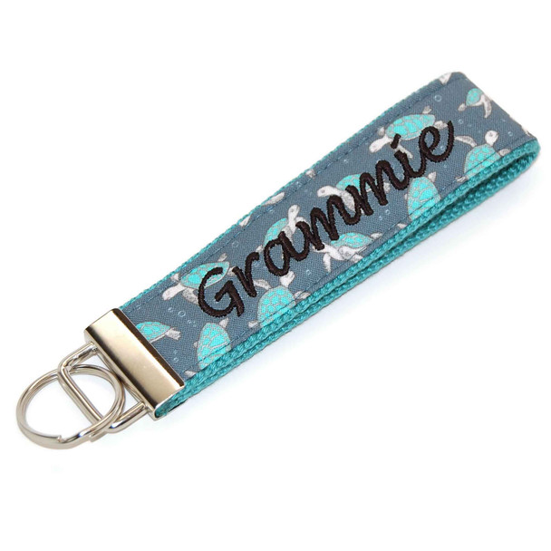 Sea Turtles Blue Keychain Personalized  with Name