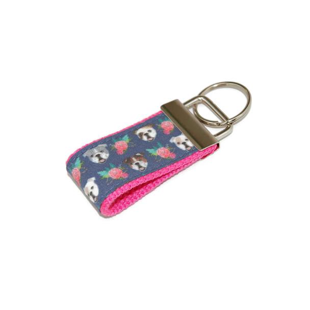 English Bulldog and Rose Mini Keychain