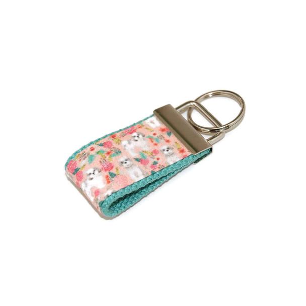 Shih Tzu Dogs on Coral Mini Keychain