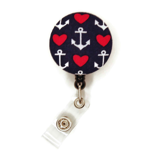 Anchor with Heart on Blue ID Badge Reel