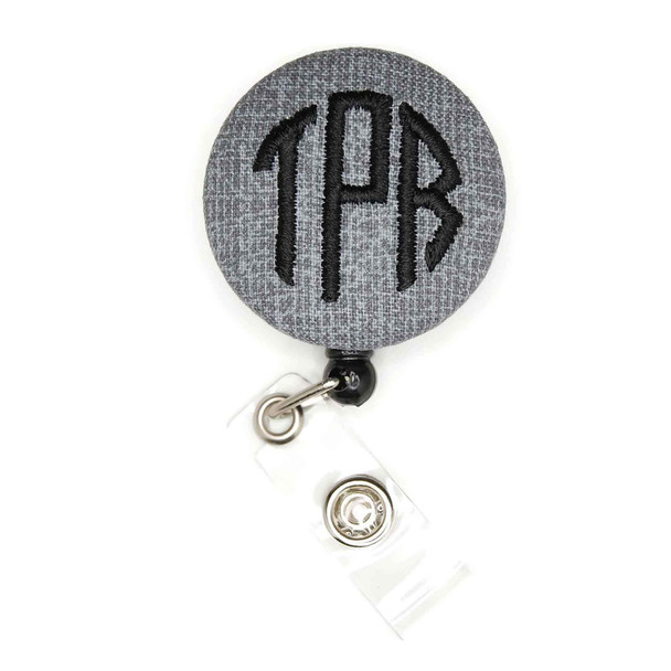 Fabric Gray ID Badge Reel with Letter