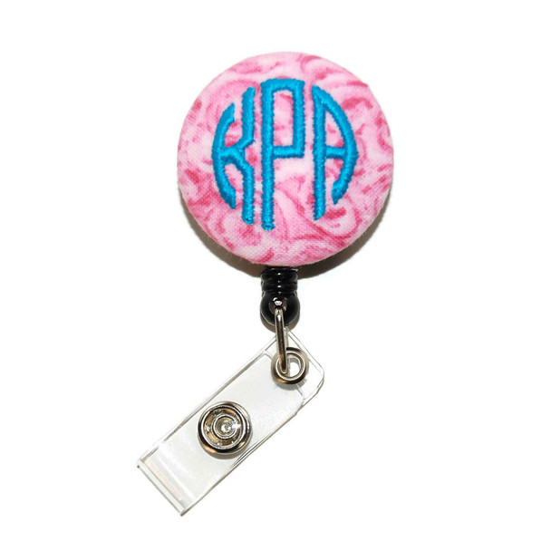 Water Color Florals Pink ID Badge Reel Monogram