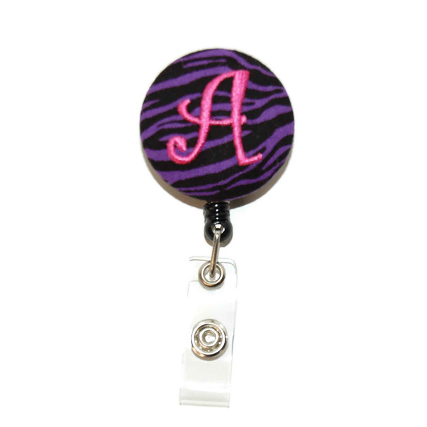 Zebra Purple ID Badge Reel with Letter