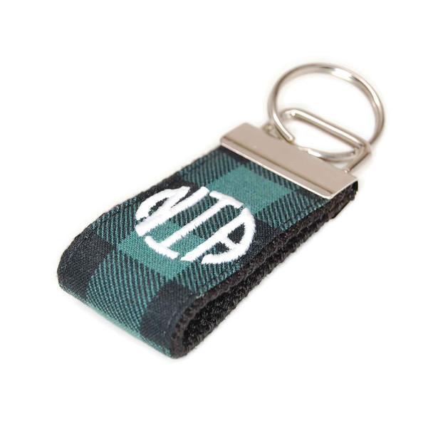 Green and Black Buffalo Check Mini Keychain Personalized Monogram