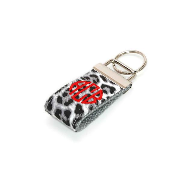Snow Leopard Mini Keychain Personalized Monogram