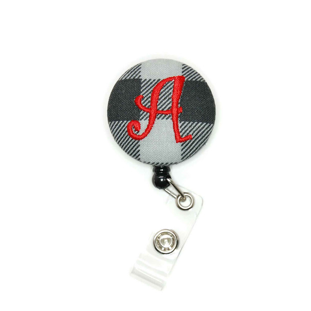 Buffalo Check Gray Black ID Badge Reel Personalized with Letter