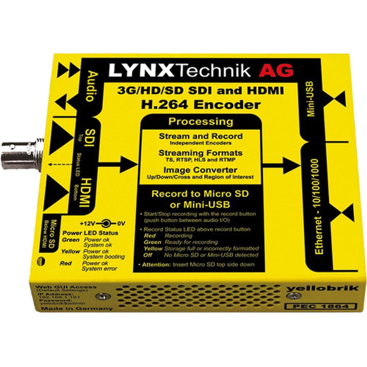 Lynx Technik AG yellobrik PEC 1864 3G-SDI/HDMI H 264 Streamer & Recorder