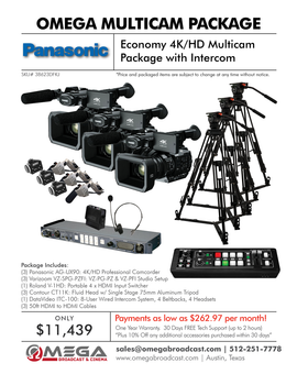 Panasonic ECONOMY 4K/HD MULTICAM PACKAGE