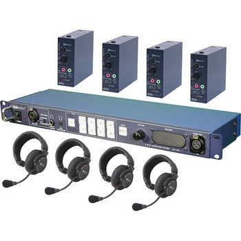 Datavideo ITC100-HP1K Wired Intercom System with Four HP-1 Headsets Kit