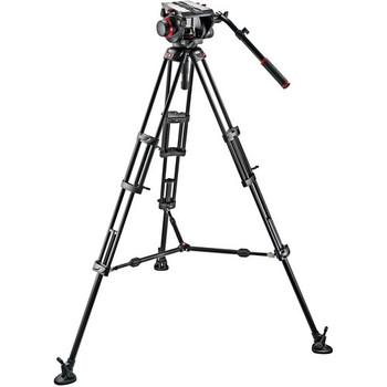 Manfrotto 509HD,545BK 509HD Video Head & 545B Aluminum Tripod Pro Middle-Twin Kit 100 - DISCONTINUED