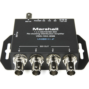 Marshall Electronics VDA-104-3GS 1x4 3G/HD/SD-SDI Reclocking Distribution Amplifier