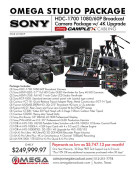 Sony HDC-1700 1080/60p Sony HDC-1700 1080/60p Broadcast Camera Package w/ 4K Upgrade