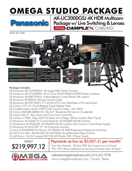 Panasonic AK-UC3000GSJ 4K HDR Multicam Package