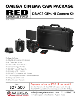 RED DSMC2 GEMINI 5K S35 Camera Kit