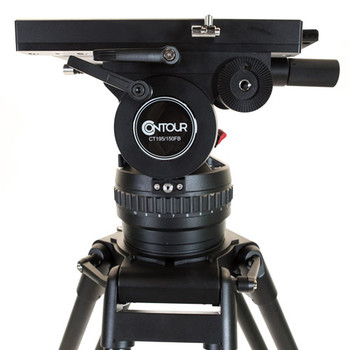 Contour CT195K Fluid Video Tripod Head 25lbs-195 lbs capacity with 2 PB80 Panbars, Aluminum Heavy Duty Tripod