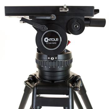 Contour CT195K Fluid Video Tripod Head 25lbs-195 lbs capacity with 2 PB80 Panbars, Aluminum Heavy Duty Tripod