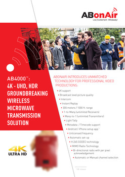 ABonAir AB4000 4K - UHD, HDR Groundbreaking Wireless Microwave Transmission Solution