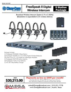 DEMO Clear-Com FreeSpeak II (1.9 or 2.4GHz) 5 Station Digital Wireless Intercom System