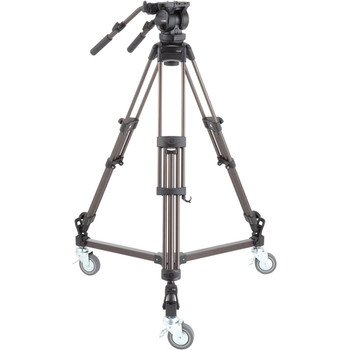 Libec LX10 STUDIO Two-Stage Aluminum Tripod System and H65B Head with Dual Pan Handles and Spreader Dolly