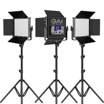 GVM RGB LED Studio 3-Light Soft Video Light Panel Kit 50RS3L