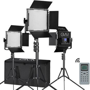 GVM 672S-B Bi-Color LED Studio Video Panel 3-Light Kit (Black)