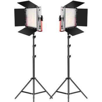 GVM MB832-2L LED Light Panels Studio Soft Video Light Bi-Color 2-Pack with Stand