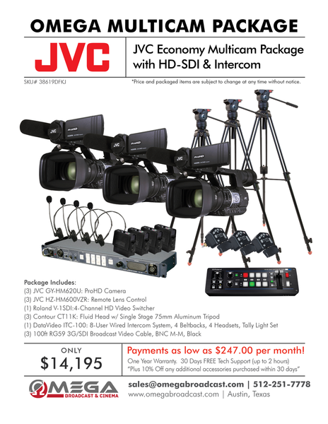 JVC Economy Multicam Package with HD-SDI & Intercom
